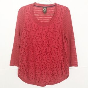 EUC One September Coral pink Laceveiled pullover